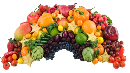 An edible rainbow of nummy fruits and vegetables